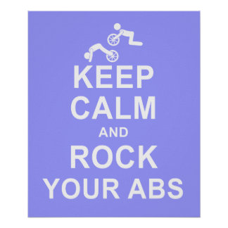 Keep Calm ab Roller Exercise Fitness Motivation Poster
