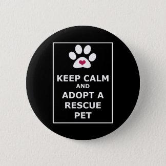 Keep Calm & Adopt a Rescue Pet - WHT Button