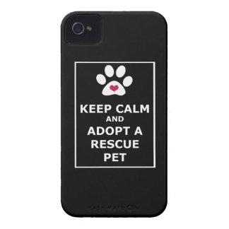 Keep Calm & Adopt a Rescue Pet - WHT iPhone 4 Case-Mate Cases