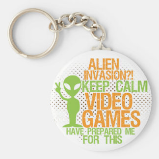 Keep Calm Alien Invasion Funny Gamers Keychain