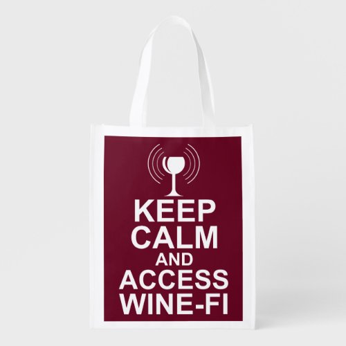 Keep Calm and Access Wine-Fi Grocery Bag