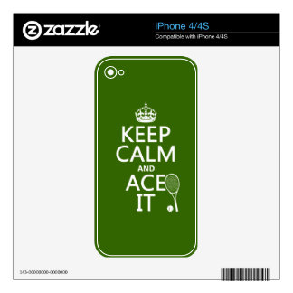 Keep Calm and Ace It (tennis) (in any color) Decals For iPhone 4S