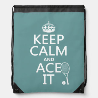 Keep Calm and Ace It (tennis) (in any color) Drawstring Bag