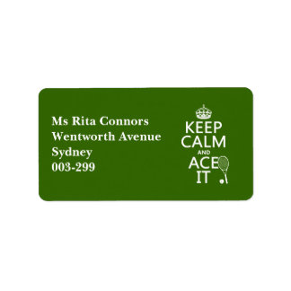 Keep Calm and Ace It (tennis) (in any color) Personalized Address Label
