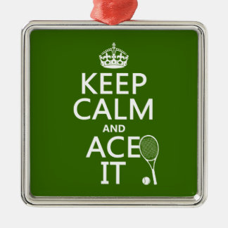 Keep Calm and Ace It (tennis) (in any color) Christmas Tree Ornaments