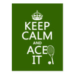 Keep Calm and Ace It (tennis) (in any color) Post Cards
