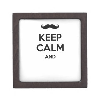 Keep calm and ... add your moustache text here! premium jewelry box