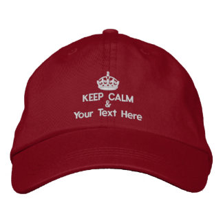 Keep Calm and add your own text Embroidered Baseball Hat