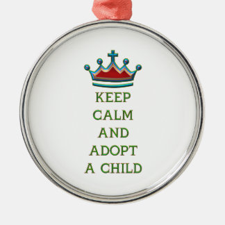 Keep Calm and Adopt a Child Metal Ornament