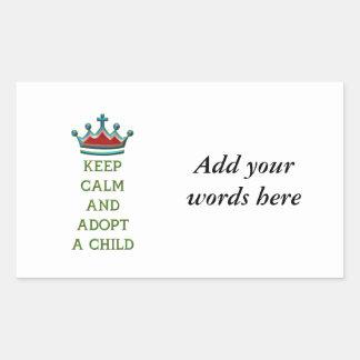 Keep Calm and Adopt a Child Rectangular Sticker