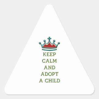 Keep Calm and Adopt a Child Triangle Sticker