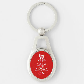 Keep Calm and Aloha On Hibiscus Silver-Colored Oval Metal Keychain