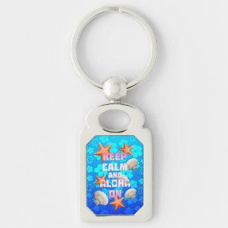 Keep Calm And Aloha On Keychain