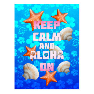 Keep Calm And Aloha On Postcard