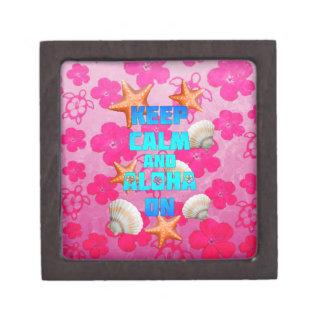 Keep Calm And Aloha On Premium Keepsake Boxes