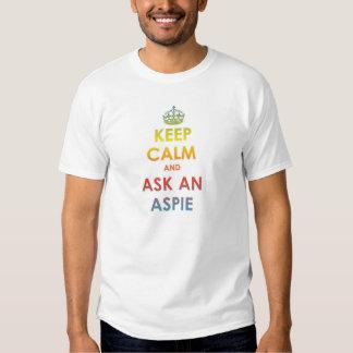 Keep Calm and Ask an Aspie-multicolourtext white Tee Shirt