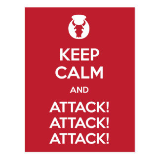 Keep Calm and Attack3x postcard
