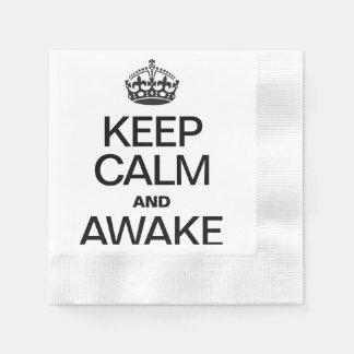 KEEP CALM AND AWAKE COINED COCKTAIL NAPKIN