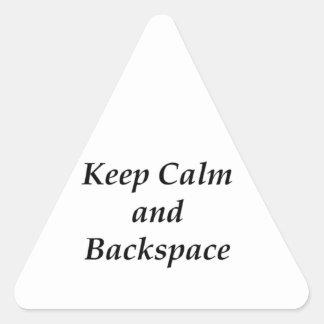 KEEP CALM AND BACKSPACE TRIANGLE STICKER