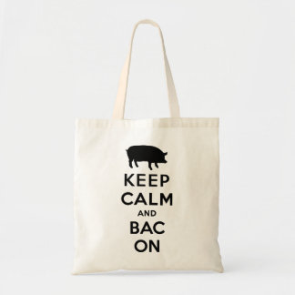 Keep calm and bacon tote bag