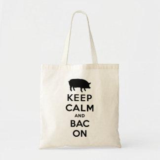 Keep calm and bacon tote bag