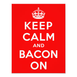 4.25' x 5.5' Invitation / Flat Card with Keep Calm And Bacon On design