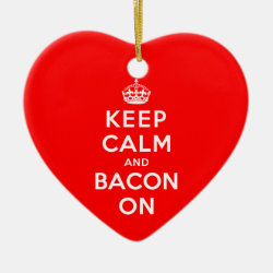 Heart Ornament with Keep Calm And Bacon On design