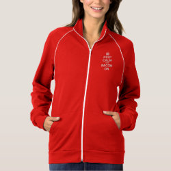 Women's American Apparel California Fleece Track Jacket with Keep Calm And Bacon On design
