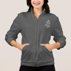 Women's American Apparel California Fleece Zip Jogger with Keep Calm And Bacon On design
