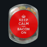 """Keep Calm and Bacon On Jelly Belly Candy Jar<br><div class=""""desc"""">Keep Calm and Bacon On   Customizable Background.   Choose the background color you want by clicking Customize it - Edit - Background.</div>"""