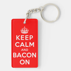 Rectangle Keychain (double-sided) with Keep Calm And Bacon On design
