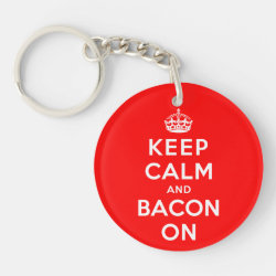 Circle Keychain (double-sided) with Keep Calm And Bacon On design