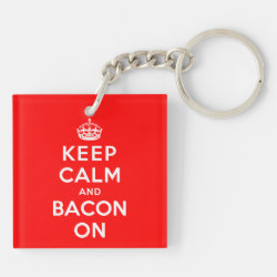 Square Keychain (double-sided) with Keep Calm And Bacon On design