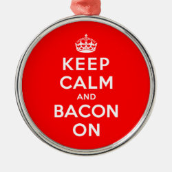 Premium circle Ornament with Keep Calm And Bacon On design