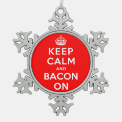 Pewter Snowflake Ornament with Keep Calm And Bacon On design