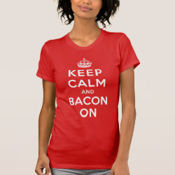 Women's American Apparel Fine Jersey Short Sleeve T-Shirt with Keep Calm And Bacon On design