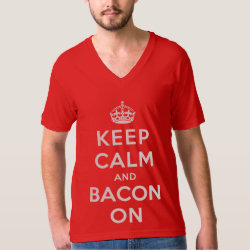 Men's American Apparel Fine Jersey V-neck T-Shirt with Keep Calm And Bacon On design