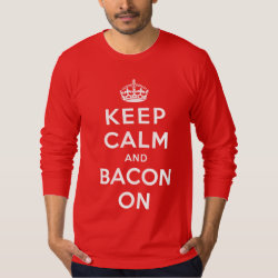 Men's American Apparel Fine Jersey Long Sleeve T-Shirt with Keep Calm And Bacon On design