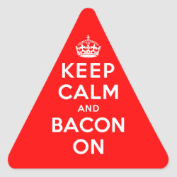 Triangle Sticker with Keep Calm And Bacon On design