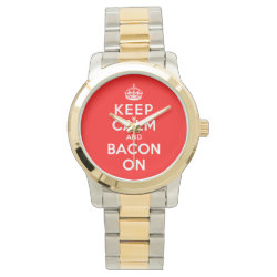 Unisex Oversized Two-Tone Bracelet Watch with Keep Calm And Bacon On design