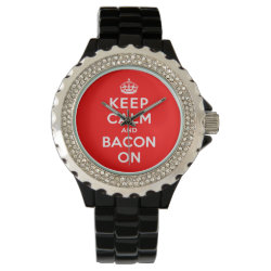 Women's Rhinestone Black Enamel Watch with Keep Calm And Bacon On design