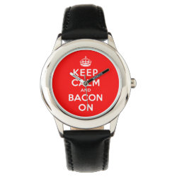 Kid's Stainless Steel Black Leather Strap Watch with Keep Calm And Bacon On design