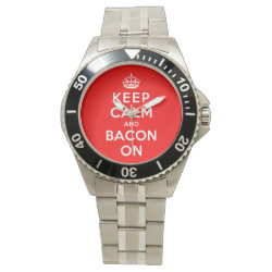 Men's Stainless Steel Bracelet Watch with Keep Calm And Bacon On design