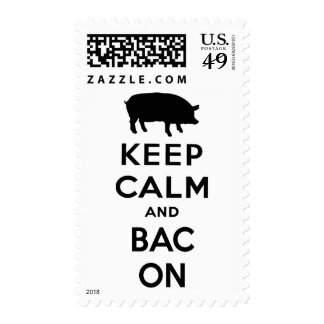 Keep calm and bacon postage stamp