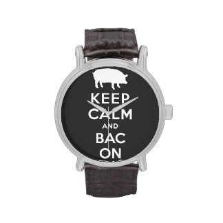 Keep calm and bacon white watches