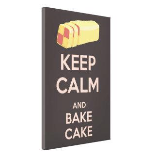Keep Calm and Bake Cake Vintage Poster Canvas Print
