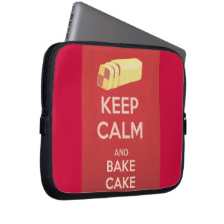 Keep Calm and Bake Cake Vintage Poster Laptop Sleeve