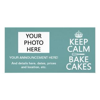 Keep Calm and Bake Cakes (customize color) Custom Photo Card