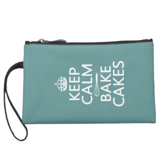 Keep Calm and Bake Cakes Suede Wristlet
