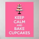 Keep Calm and Bake Cupcakes Poster Print